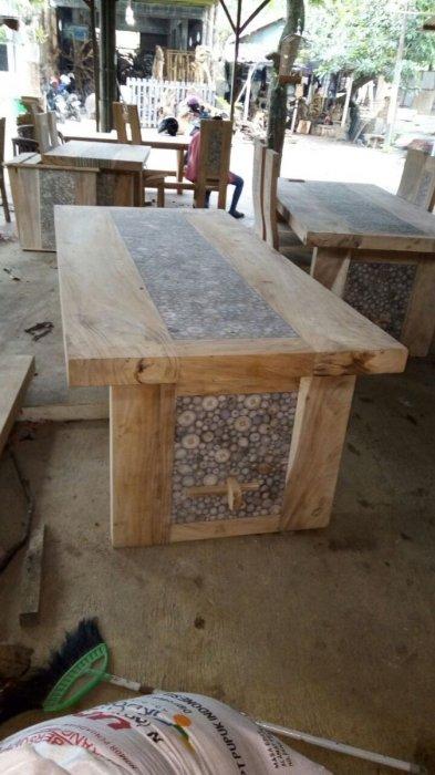 Teakhouten tafel met inleg voor op terras kloostertafel voor op terras - Deco voor terras ...