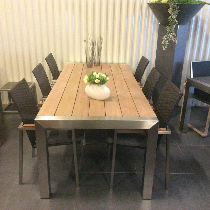 Tuintafel rvs meranti hout decogarden design meubilair van inox - Deco lounge hout ...